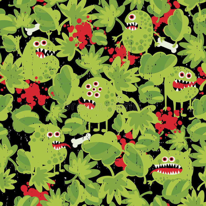 Cute monsters in the grass seamless pattern. stock illustration