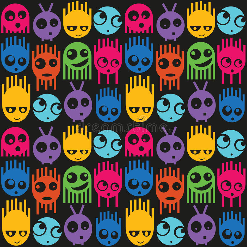 Cute monsters seamless pattern stock illustration