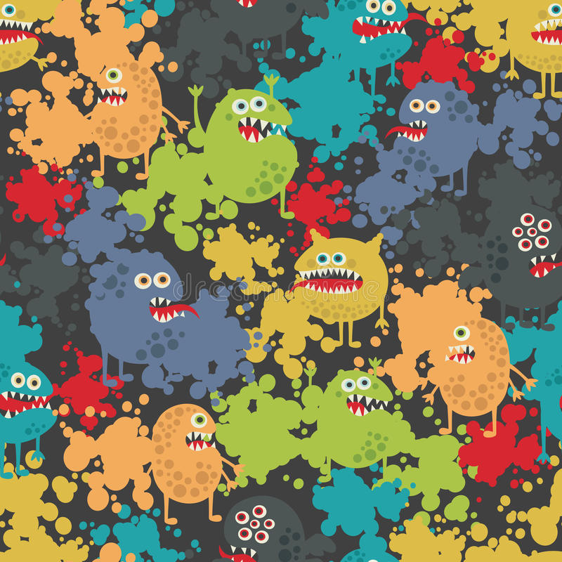 Cute monsters seamless pattern. royalty free illustration