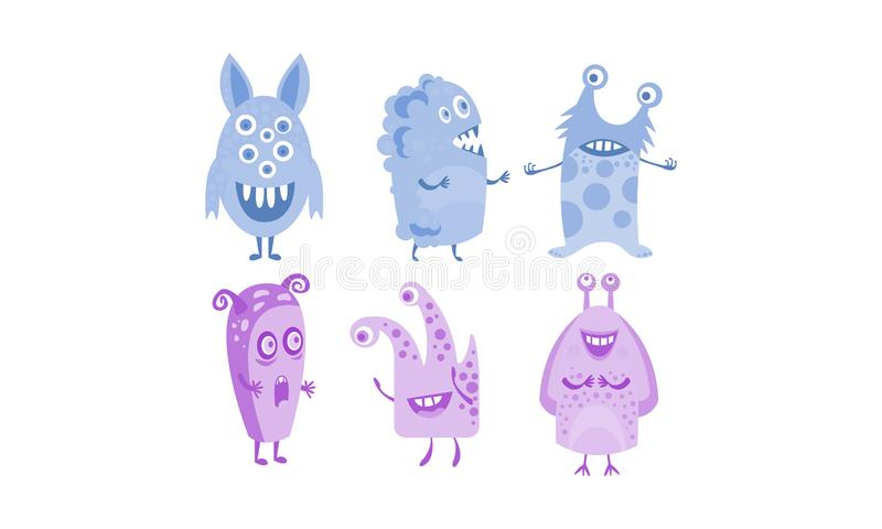 Cute monsters set, blue and purple funny alien character vector Illustration stock illustration