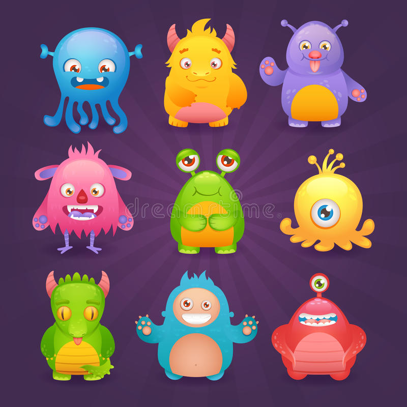 Download Cute monsters set stock vector. Image of creature, crazy - 45843485