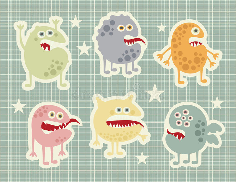 Cute Monsters Set In Retro Style. Royalty Free Stock Photography