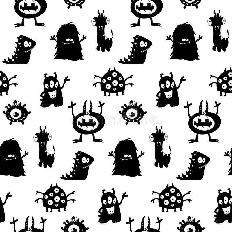 Cute monsters silhouettes pattern stock illustration