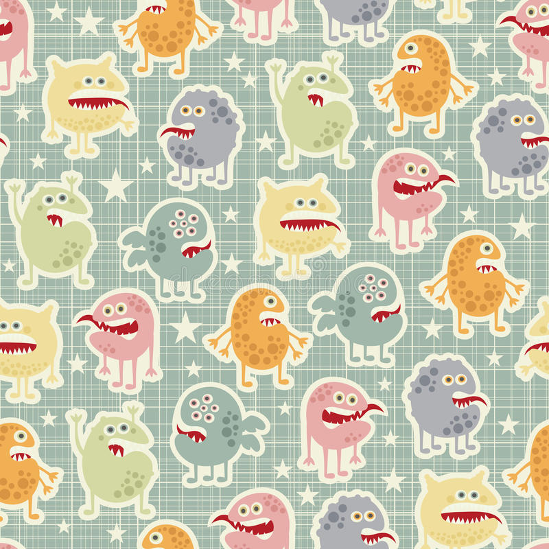 Cute  monsters  texture with stars.