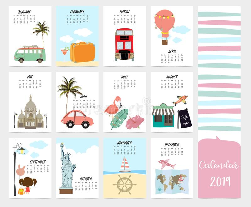Cute monthly calendar 2019 with beach,sea,van,Statue of Liberty royalty free illustration