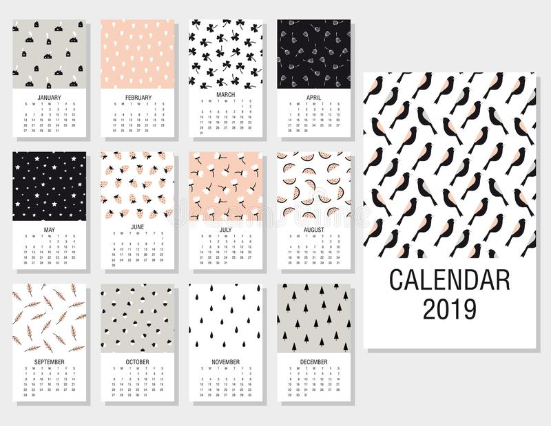 Cute monthly calendar 2019 vector illustration