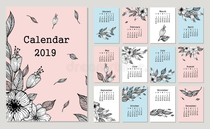 Cute monthly calendar 2019 with flowers and leaf. royalty free illustration