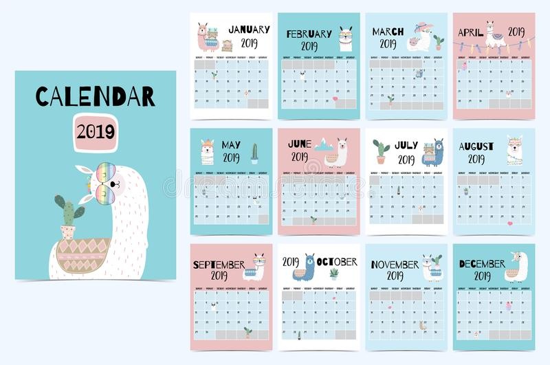 Cute monthly calendar 2019 with llama,luggage,cactus,geometrical,glasses,heart for children.Can be used for stock illustration
