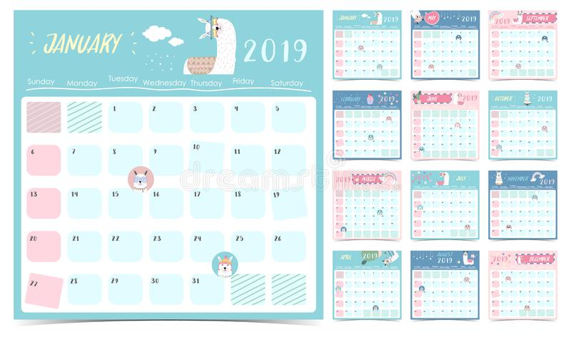 Cute monthly calendar 2019 with llama,rainbow,cactus,glasses,heart,star for children.Can be used for web,banner,poster,label and royalty free illustration