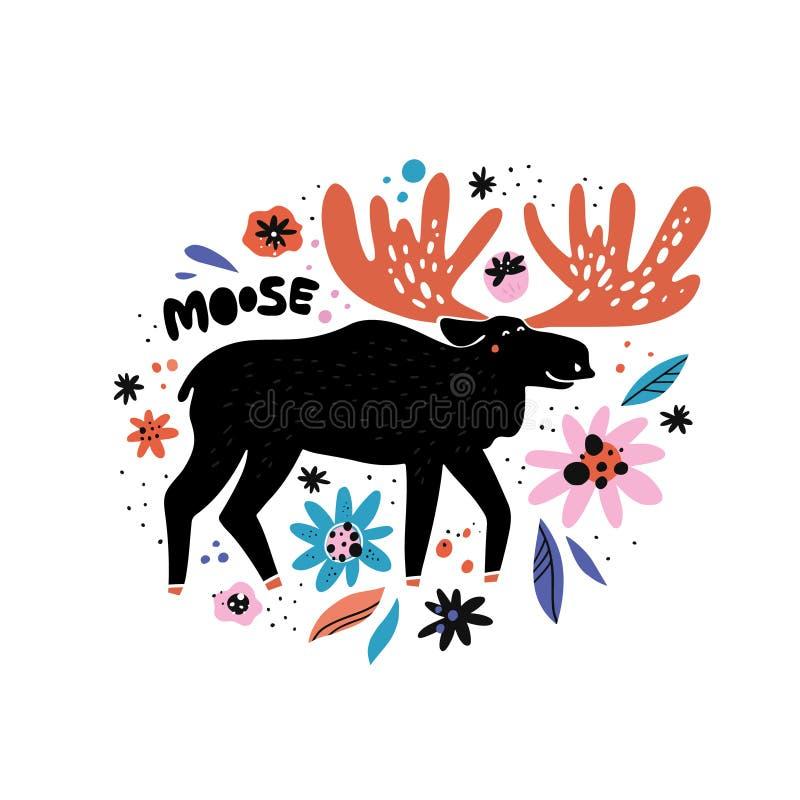 Cute moose flat hand drawn illustration stock illustration