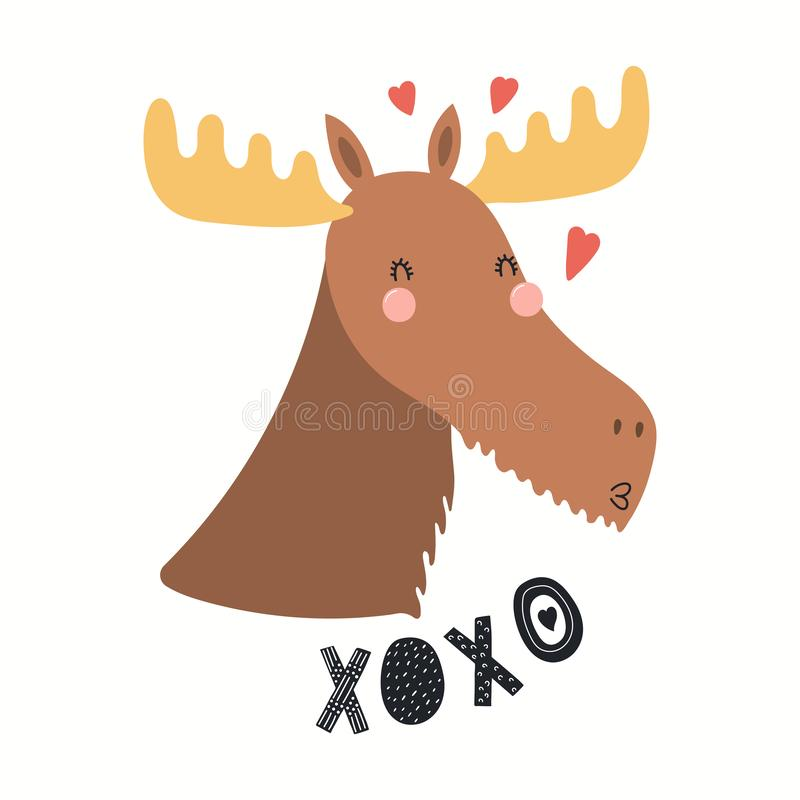 Cute moose Valentines day card royalty free illustration