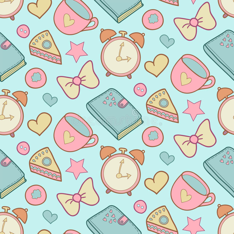 Download Cute Morning Vector Seamless Pattern With Cake Heart Cup Notebook And Alarm