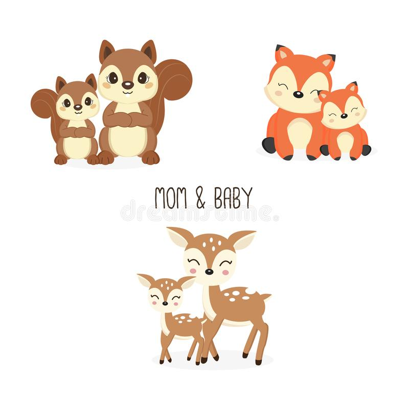 Free Cute Mother And Baby Woodland Animals. Royalty Free Stock Photo - 144255345