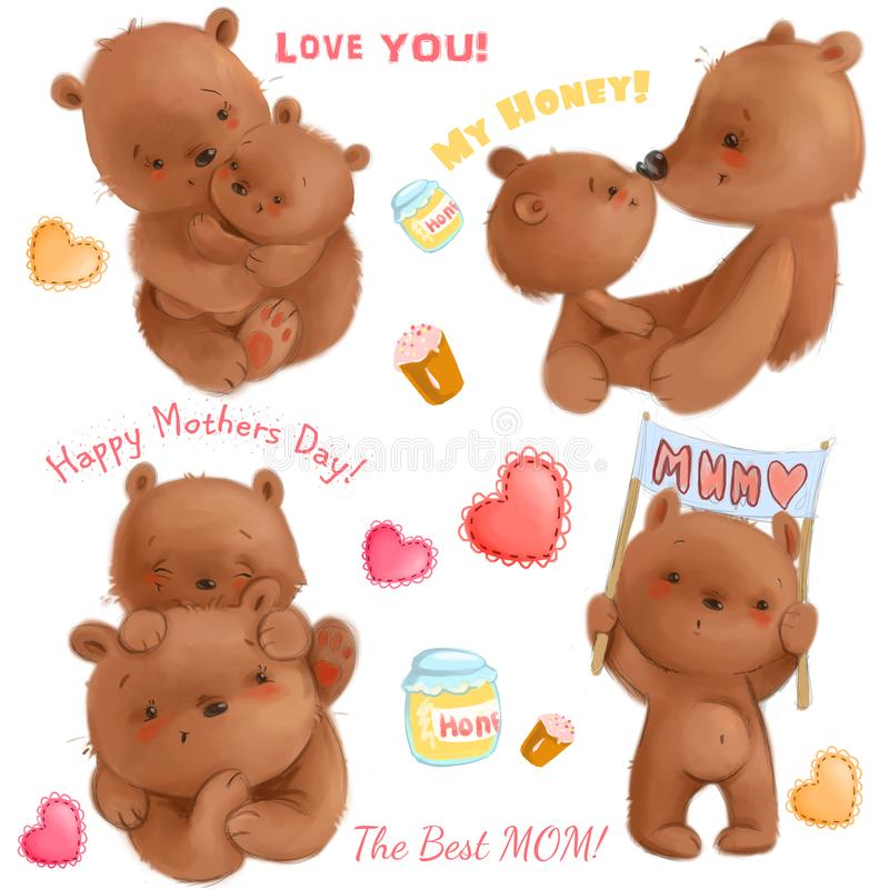 Cute mothers day isolated clipart with funny bears mom and her cubs, hearts, honey, cakes. It`s about love. Use for. Cute mothers day isolated clipart with funny stock illustration