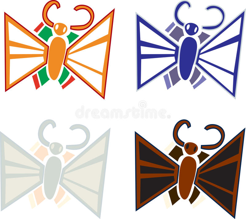 Cute Moths and Butterflies. Various moths and butterflies on isolated white background royalty free illustration