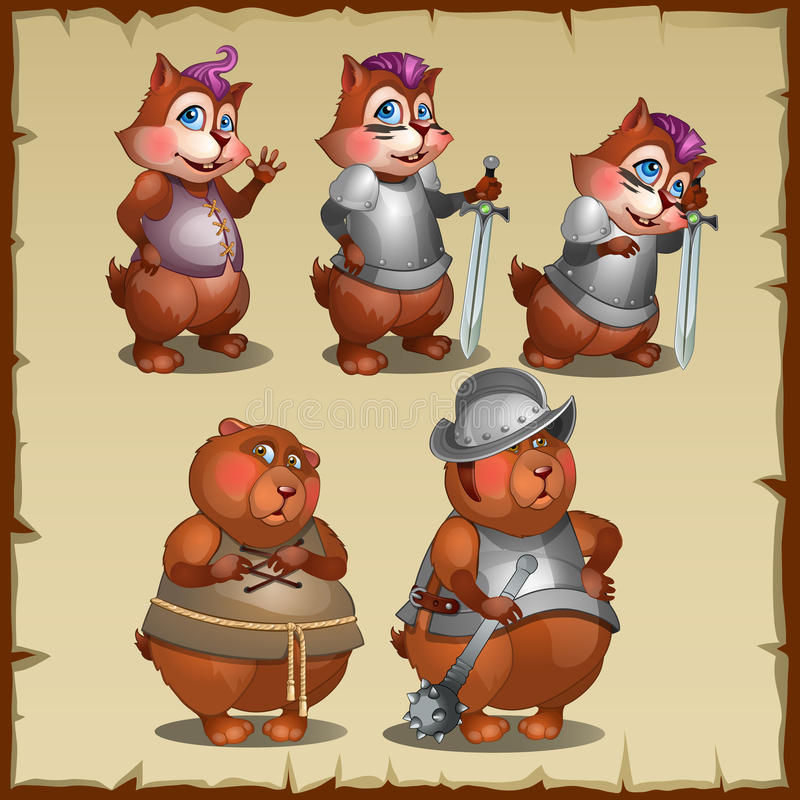Cute mouse in armor and a steel Mace. Mouse in armor and a steel Mace stock illustration