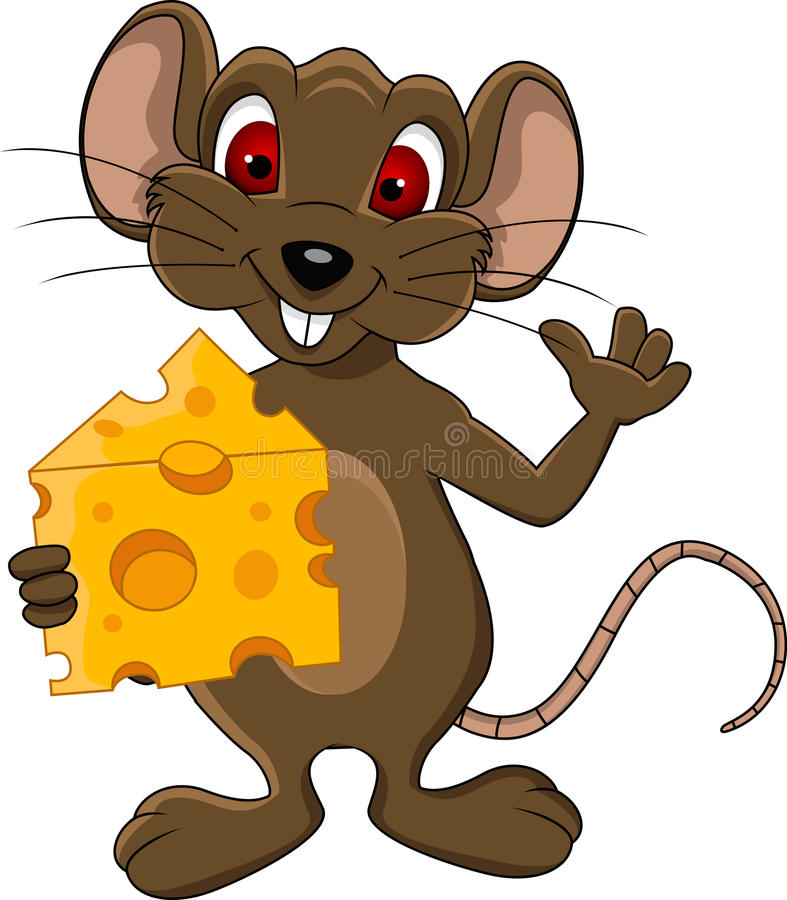 Cute Mouse Cartoon With Cheese Stock Illustration ...