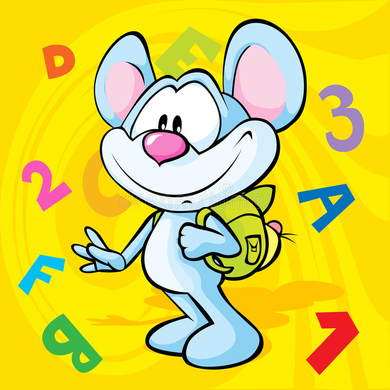 Cute Mouse Cartoon Illustration With School Bag Royalty Free Stock Images