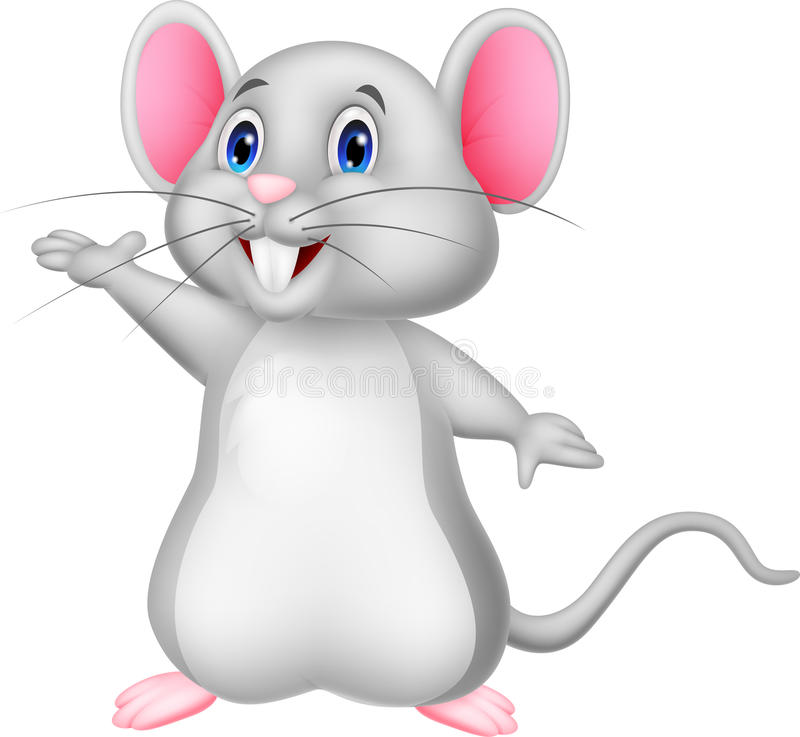 Cute mouse cartoon waving vector illustration