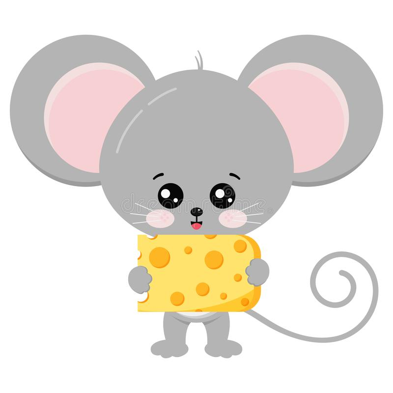 Cute mouse and cheese in paws vector illustration. royalty free illustration