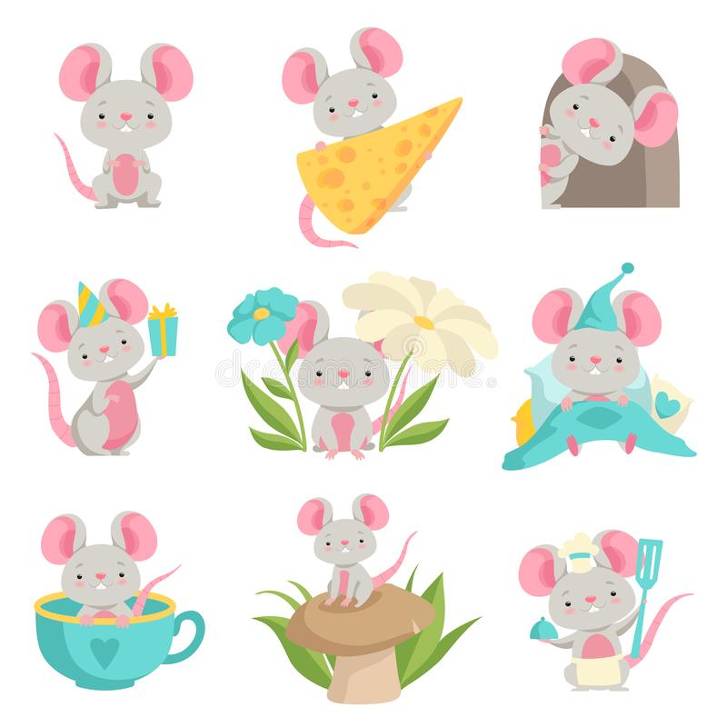 Cute mouse in different situations set, funny animal cartoon character vector Illustration on a white background. Cute mouse in different situations set, funny vector illustration