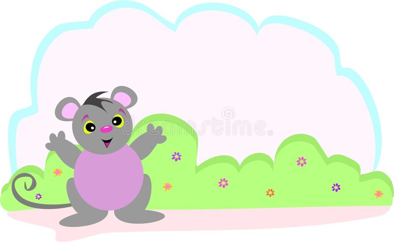 Cute Mouse And Flower Bush With A Text Bubble Stock Images