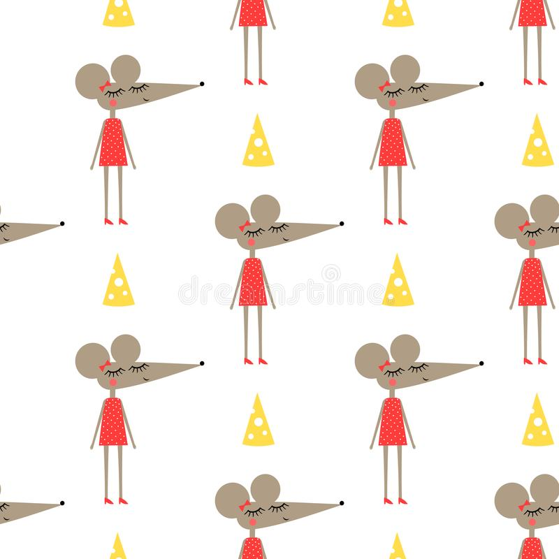 Cute mouse girl in dress with cheese seamless pattern on white background. vector illustration