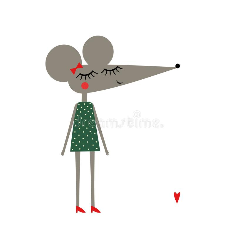 Cute mouse girl in polka dots dress on white background. royalty free illustration
