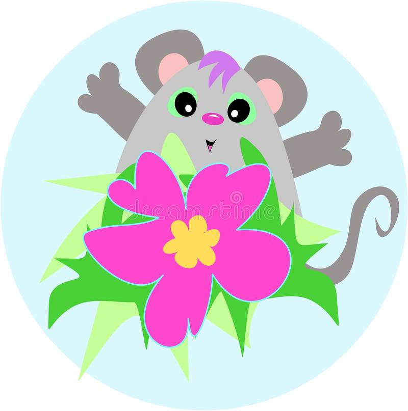 Cute Mouse With A Hibiscus Flower Stock Photo