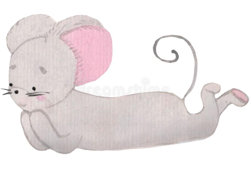 Cute mouse lying on the floor. Cheerful little character with pink ears. watercolor illustration for prints, design. Postcards, posters. symbol of the year vector illustration