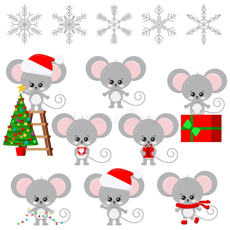 Cute mouse New Year symbol, sweet and funny cartoon little baby child character isolated on white background. stock illustration