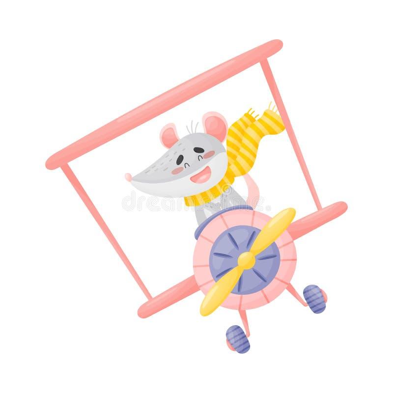 Cute mouse pilot. Vector illustration on white background. stock illustration