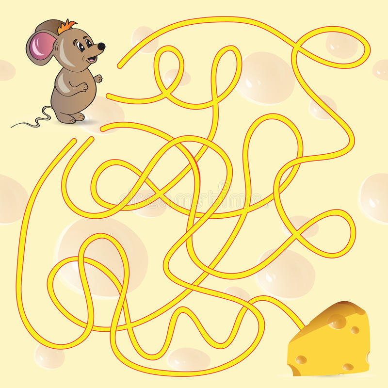 Cute Mouse's Maze Game stock photo