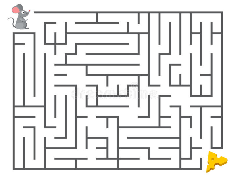 Cute mouse searching cheese. Kids maze puzzle, labyrinth vector illustration. Game labyrinth for development of thinking mental, mouse in labyrinth stock illustration