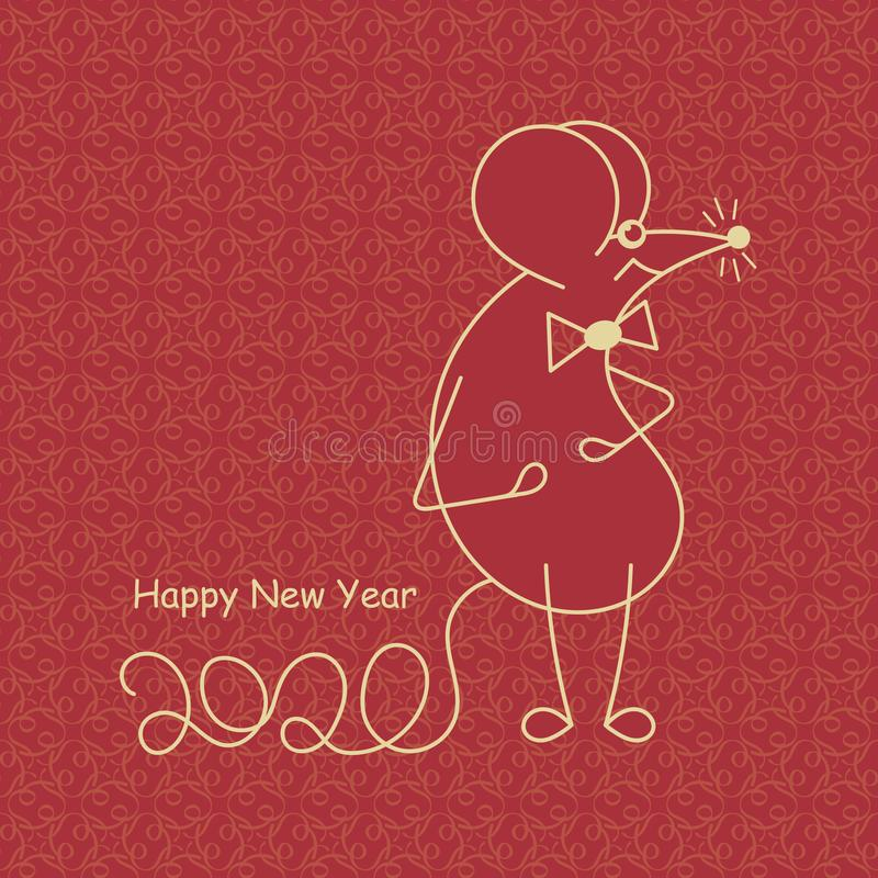 Cute mouse symbol of 2020. Happy New Year. Chinese zodiac. Vector Template for your design. Graphics royalty free illustration