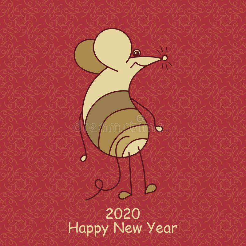 Cute mouse symbol of 2020. Chinese zodiac. Vector Template for your design. Cute mouse symbol of 2020. Happy New Year. Chinese zodiac. Vector Template for your royalty free stock image