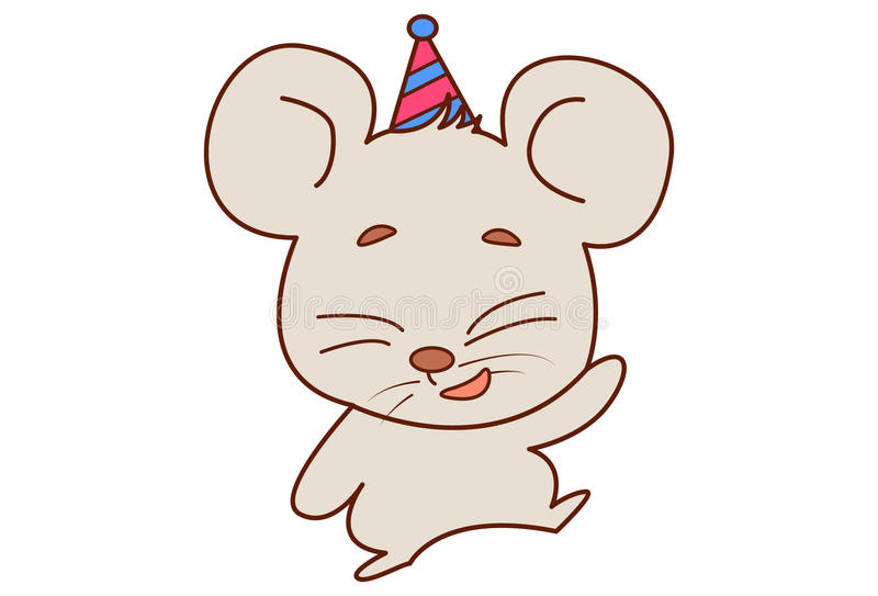 Cute mouse wearing a party cap and dancing. stock illustration