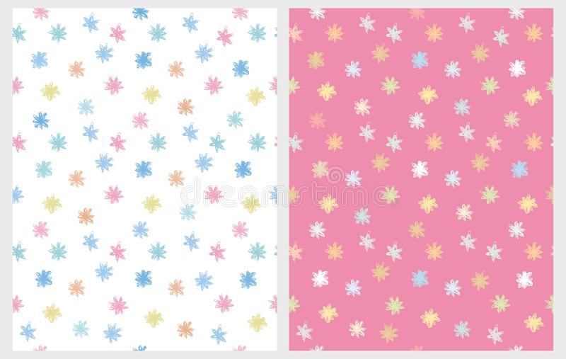 Cute Multicolor Abstract Stars Vector Patterns. Pastel Colors. vector illustration