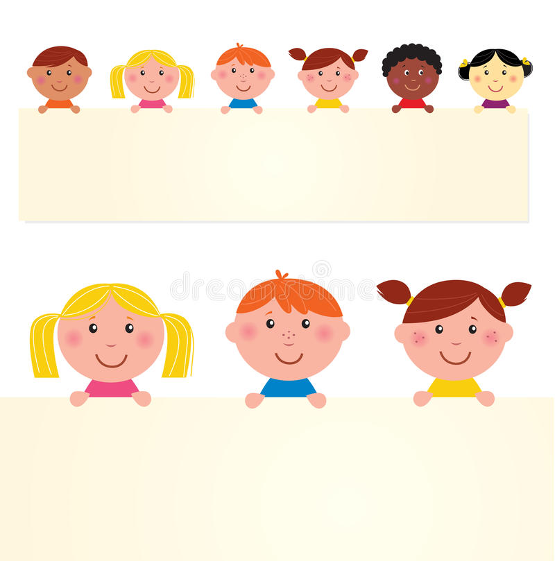 Cute multicultural kids with banner stock illustration