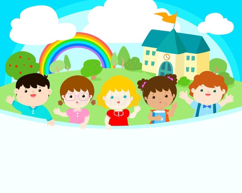 Cute multiracial children joyful at school background . vector illustration