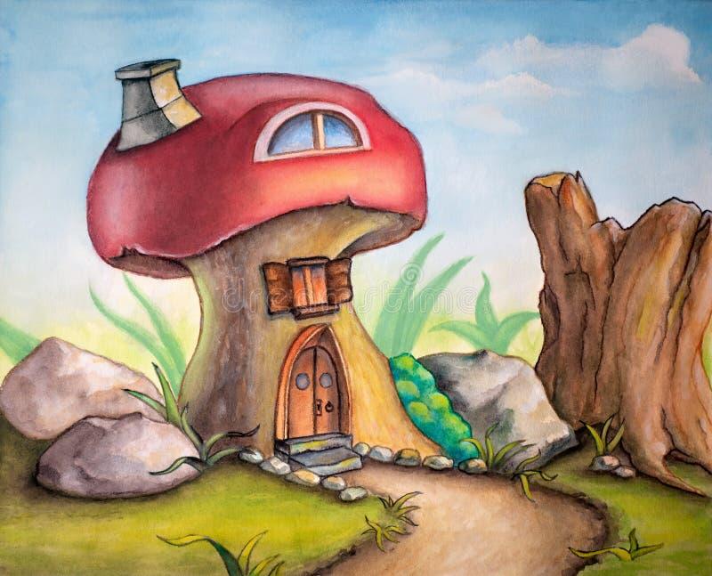 Cute mushroom house stock photos