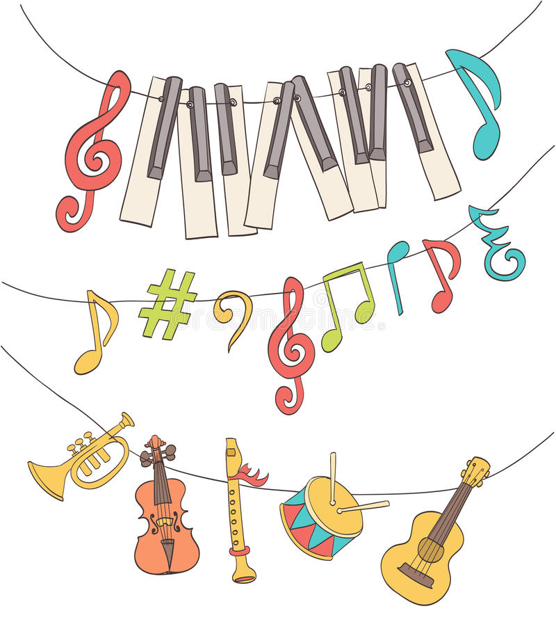 Cute musical signs royalty free illustration