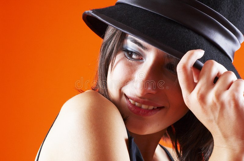 Download Cute in My Hat! stock image. Image of female, enjoying - 1586763