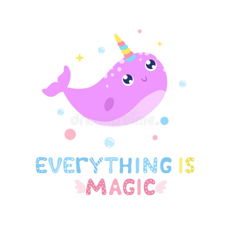 Cute narwhal and magical items vector illustration. Everything is magic card, print vector illustration