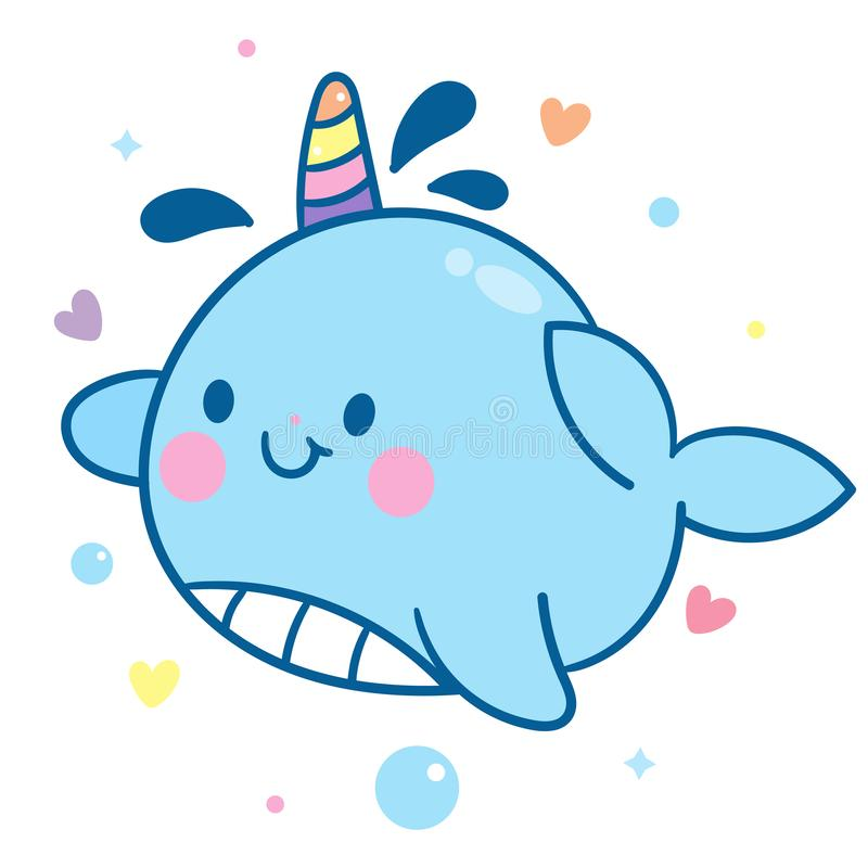 Cute Narwhal vector, unicorn of the sea, Kawaii character. Cartoon, hand drawn isolated on a white background Pastel pattern: Illustration of fairytale- Perfect stock illustration
