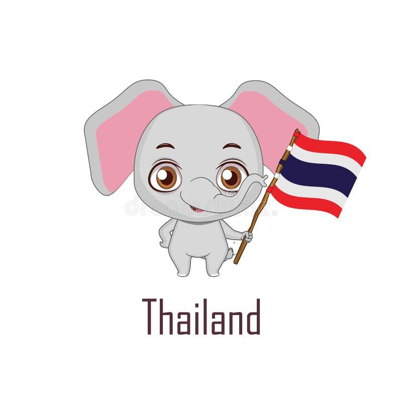 National animal elephant holding the flag of Thailand. Cute national animal elephant holding the flag of Thailand royalty free illustration