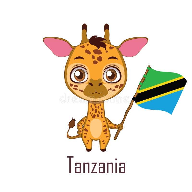 National animal giraffe holding the flag of Tanzania vector illustration