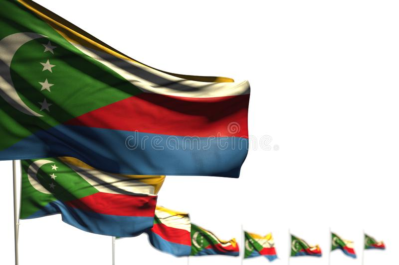 Wonderful Comoros isolated flags placed diagonal, picture with selective focus and space for text - any holiday flag 3d. Cute national holiday flag 3d stock illustration