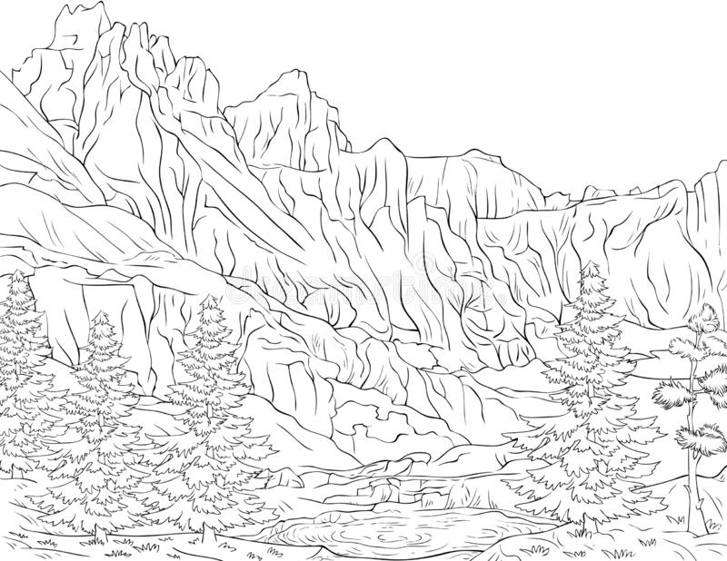 Adult Coloring Book,page A Cute Nature Landscape Image For ...