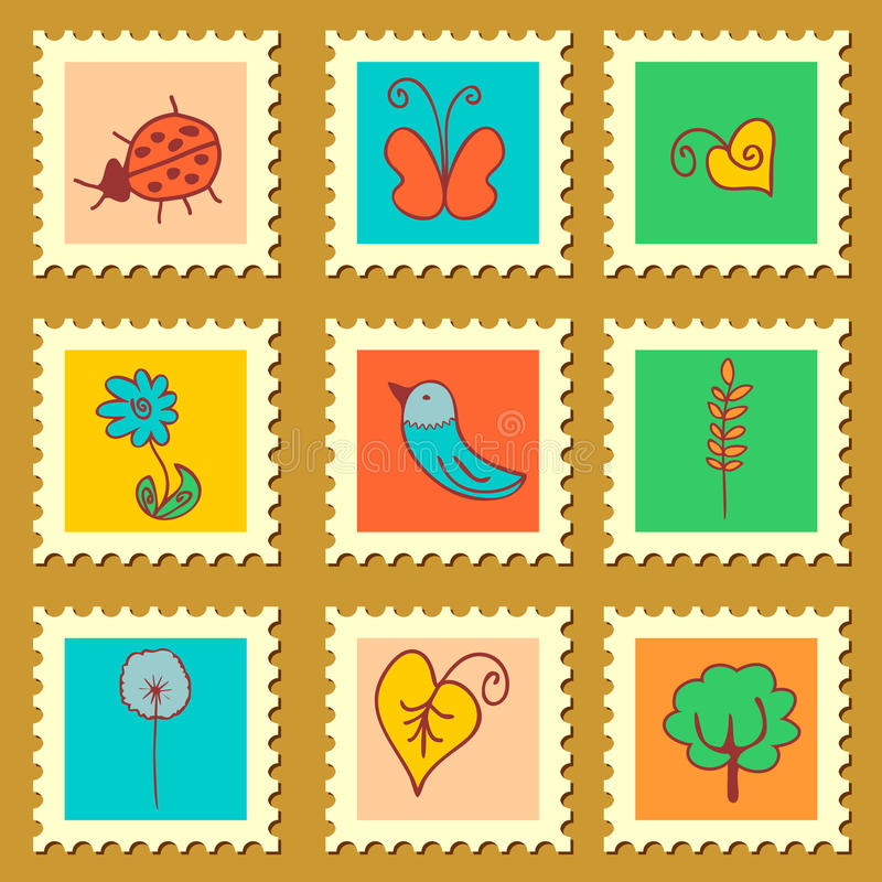 Cute nature stamps set stock illustration